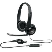 Headset Logitech H390 USB 2.0 em Couro com Controle de Volume - Preto